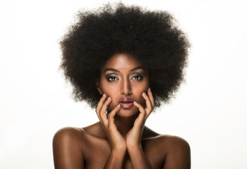 Beautiful black woman, beauty studio set