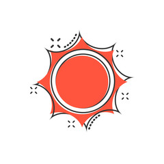Vector cartoon sun icon in comic style. Summer sunshine concept illustration pictogram. Sun business splash effect concept.