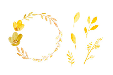 Watercolor illustration, Set of hand drawing fall, autumn flowers wreath in watercolor style isolated on white background, invitation and greeting card art design background, banner