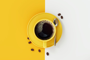 Photo sur Aluminium Cafe Top view of coffee cup on yellow and white background.
