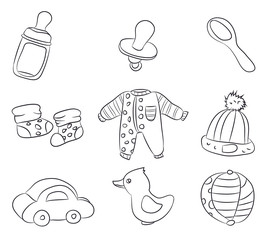 drawings of children's things, lines, vector