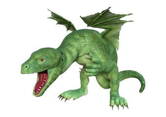 3D Rendering Fantasy Hatchling Dragon on White