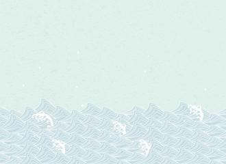 淡い色の波。 和風文様 。