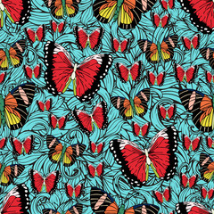 Butterfly cartoon drawing seamless pattern, vector background. Abstraction drawn insect with colorful bright wing on blue textured background with curls. For fabric design, textile, print, wallpaper