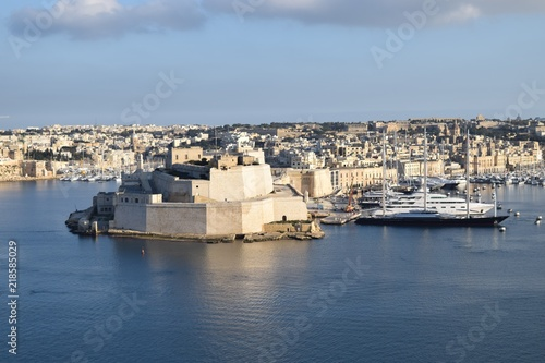 Fort at Valetta Harbour, with the Maltese falcon yacht