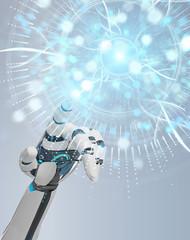 White cyborg hand using digital eye surveillance hologram 3D rendering