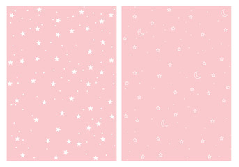 Cute Stars and Moons Vector Patterns Set. Pink Background. White Stars and Moons. Light Pink Pastel Color. Simple Infantile Design.