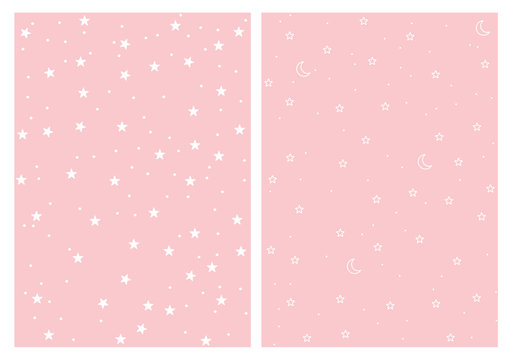 Cute Stars and Moons Seamless Vector Patterns Set. White Stars and Moon Isolated on a Pink Background. Light Pink Pastel Simple Infantile Sky Design.