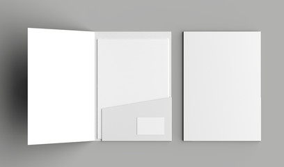 A4 size single pocket reinforced folder with business card mock up isolated on gray background. 3D illustration - fototapety na wymiar