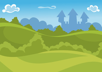 Fantasy summer vector background with castle