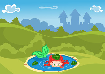 Fantasy summer vector Illustration with castle and a mermaid in the lake