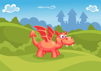 Fantasy summer vector Illustration with castle and a red dragon
