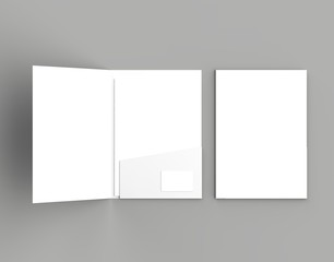 A4 size single pocket reinforced folder with business card mock up isolated on gray background. 3D illustration