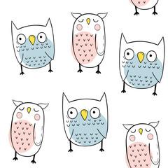 Vector seamless pattern with owls. Scandinavian motives. Baby print.
