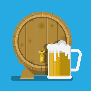 Wooden oak barrel of beer vector flat design.