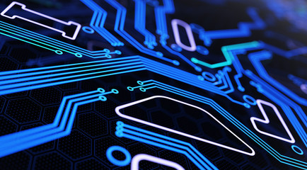 Abstract Futuristic Circuit Board Background. 3D illustration