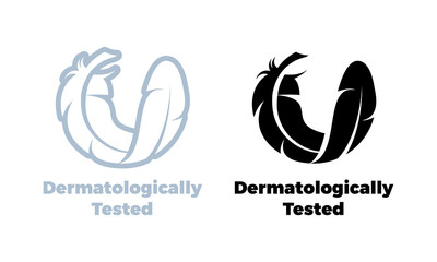 Dermatologically tested vector feather icon
