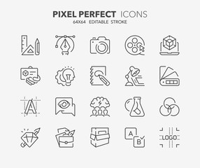 creative process thin line icons