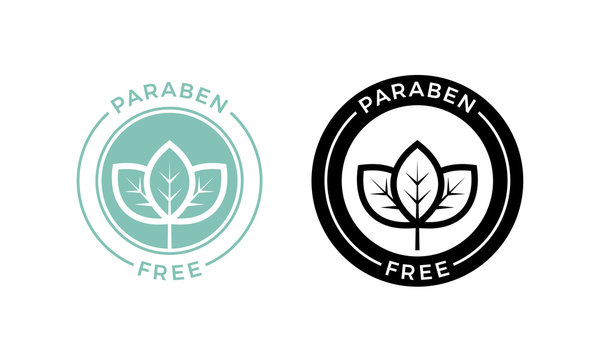 Paraben free leaf icon cosmetic vector label