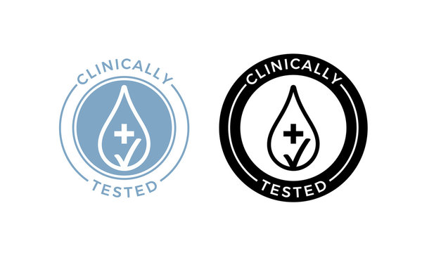 Clinically tested vector water drop icons