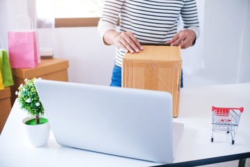 woman preparing package delivery box at home online order shopping.