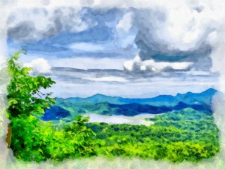 Oil painting. Art print for wall decor. Acrylic artwork. Big size poster. Watercolor drawing. Modern style fine art. Beautiful  tropical exotic landscape. Paradise. Resort view. Mountain landscape.