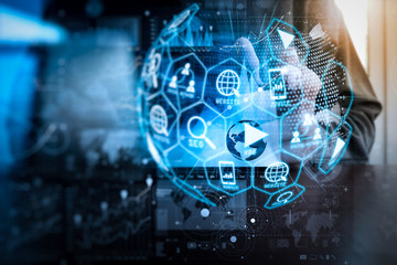 Digital marketing media (website ad, email, social network, SEO, video, mobile app) in virtual globe shape diagram.
