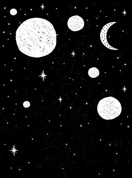 Cute Hand Drawn Night Sky Vector Illustration. Black Grunge Background. White Stars, Planets and Moon. Childish Style. Abstract Starry Night Sky.