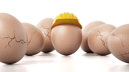 Brown egg with yellow hardhat standing out among cracked eggs. 3D illustration