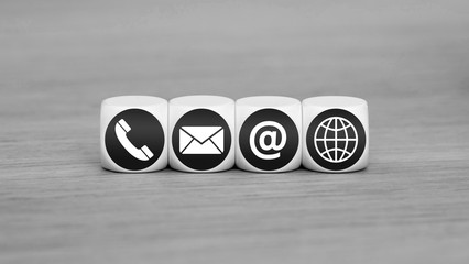 Web and Internet contact us icons on cubes