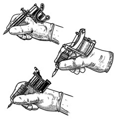 Set of hand with tattoo machine isolated on white. Design element for poster, card, nabber, flyer, emblem.