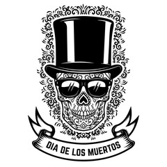 mexican sugar skull in vintage hat and sunglasses with floral pattern background. DAY OF THE DEAD. Design element for poster, greeting card, banner, t shirt, flyer, emblem.