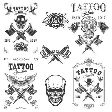 Set of tattoo studio emblems. Design elements for logo, label, emblem, sign, poster, t shirt.