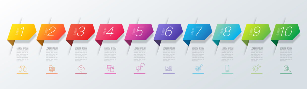 Infographics design vector and business icons with 10 options.