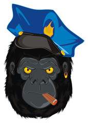 gorilla, monkey, godzilla, king Kong, primate, animal, zoo, head, policeman