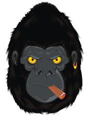 Foto op Canvas Hand getrokken schets van dieren gorilla, monkey, animal, zoo, head, illustration, cartoon, evil, evil beast, smoking