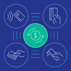 The set of Hand holding Credit Cards with Vector Linear emblems, payments badge, payments infographic. Vector thin line emblems for the button payment service of the website or finance mobile app desi