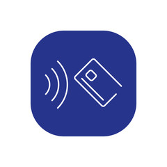 Hand holding credit card icon. Vector thin line emblem for the button payment service of the website or finance mobile app design.