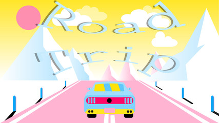A sports car rides along an asphalt road into snowy mountains. Journey to the mountains by car, travel and inscription road trip. Vector illustration