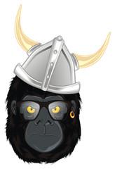 gorilla, monkey, animal, zoo, head, illustration, cartoon, evil, evil beast, glasses, helmet