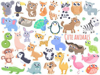 Big set of cute cartoon animals  vector illustration. Flat design.