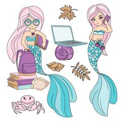 School Autumn Sea Underwater Vector Illustration Set SEA SCHOOL for Digital Print, Holidays, Wall Art, Scrapbooking, Photo Album Design and Digital Paper