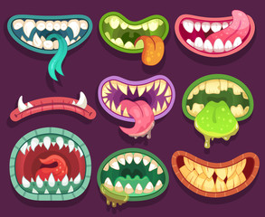 Monsters mouths. Halloween scary monster teeth and tongue in mouth. Funny jaws and crazy maws of bizarre creatures cartoon vector set