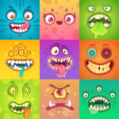 Funny halloween monsters. Cute and scary monster face with eyes and mouth. Strange creature mascot character vector illustration set