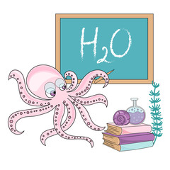School Autumn Sea Underwater Vector Illustration Set OCTOPUS SCHOOL for Digital Print, Holidays, Wall Art, Scrapbooking, Photo Album Design and Digital Paper