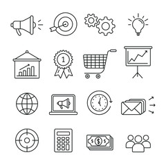Marketing related icons: thin vector icon set, black and white kit