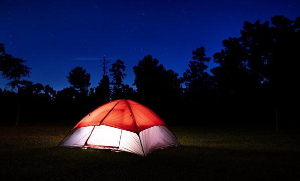 Tent in North Carolina lighted at night