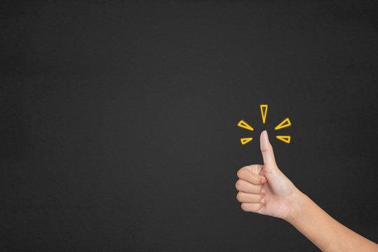 Hands of Client show Excellent. Customer satisfaction survey concept.