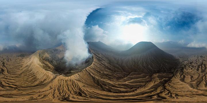 Bromo Volcano Landmark Nature Travel Place of Indonesia (Full VR 360 Degree Aerial Panorama Seamless)