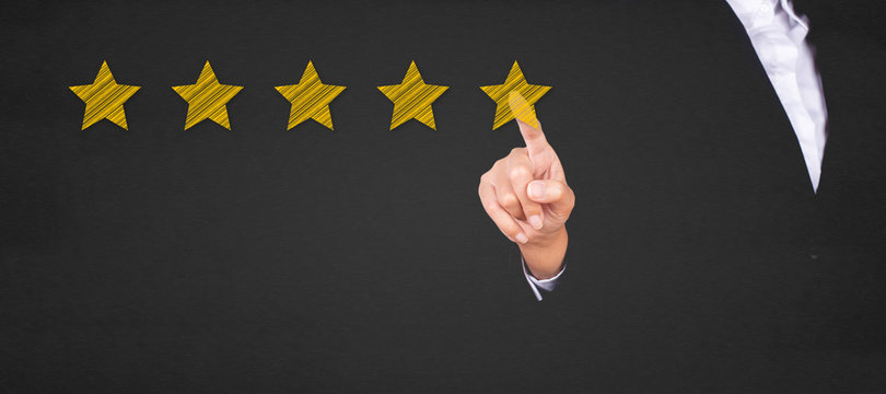 business pointing five star to increase the rating